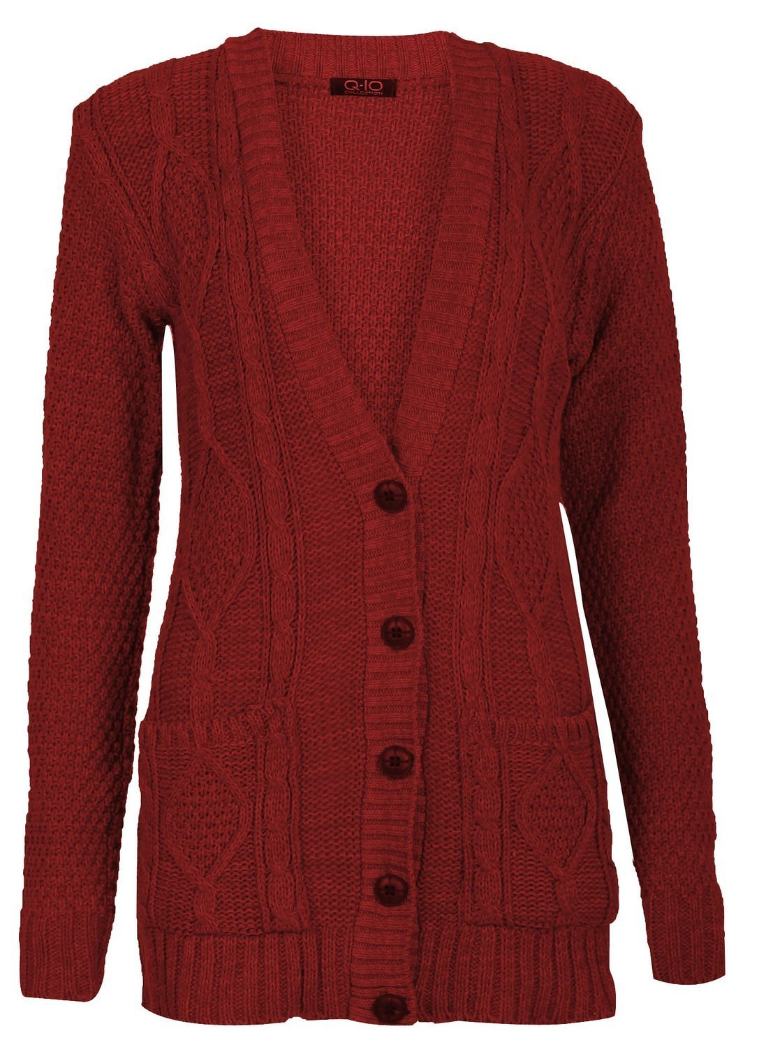 Forever Womens Long Sleeves Plus Size Cable Knitted Grandad Button Cardigan PHFF-coat-Parent