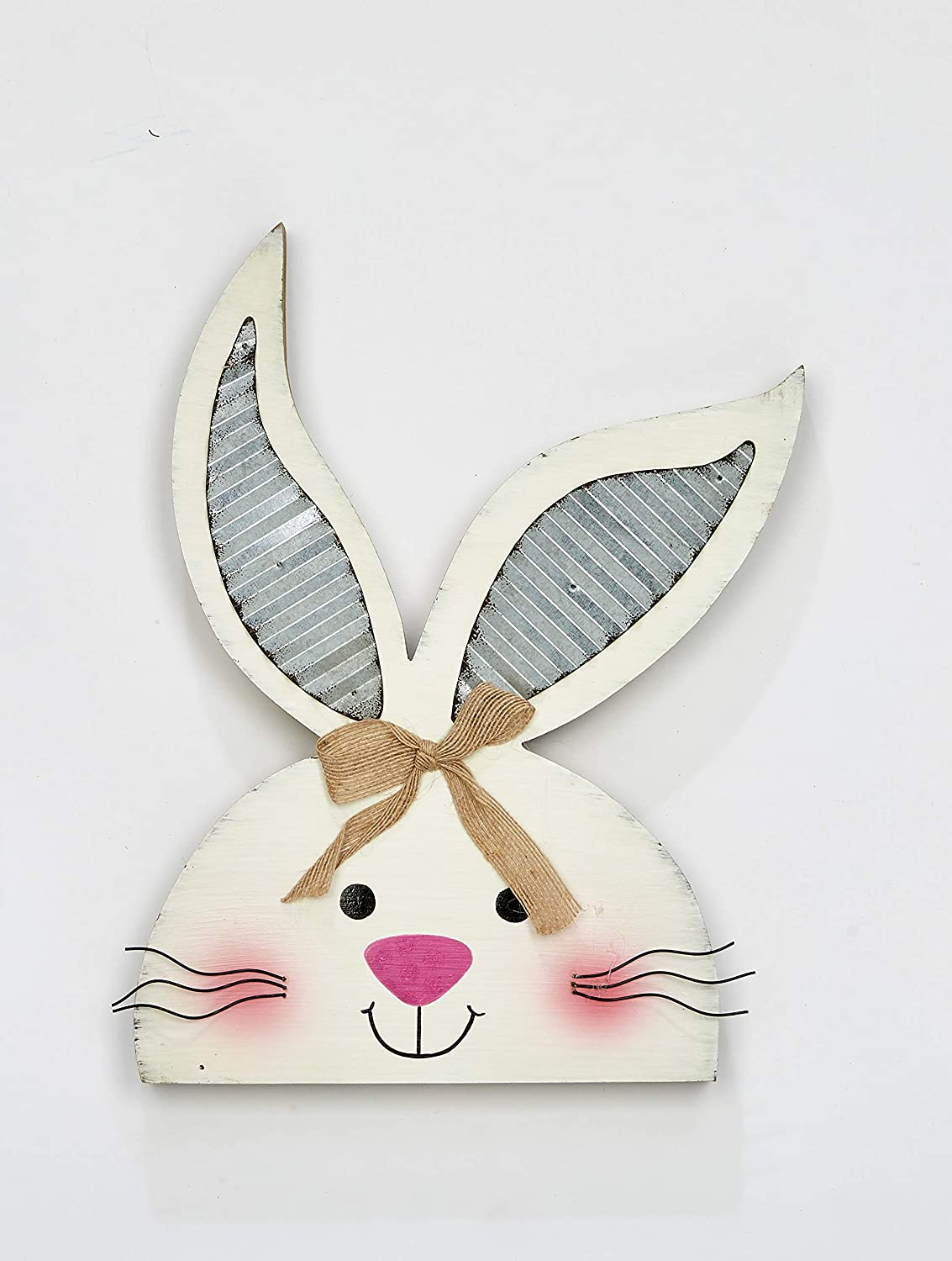 Worth Imports 14 Tabletop Wood Bunny Figurine White