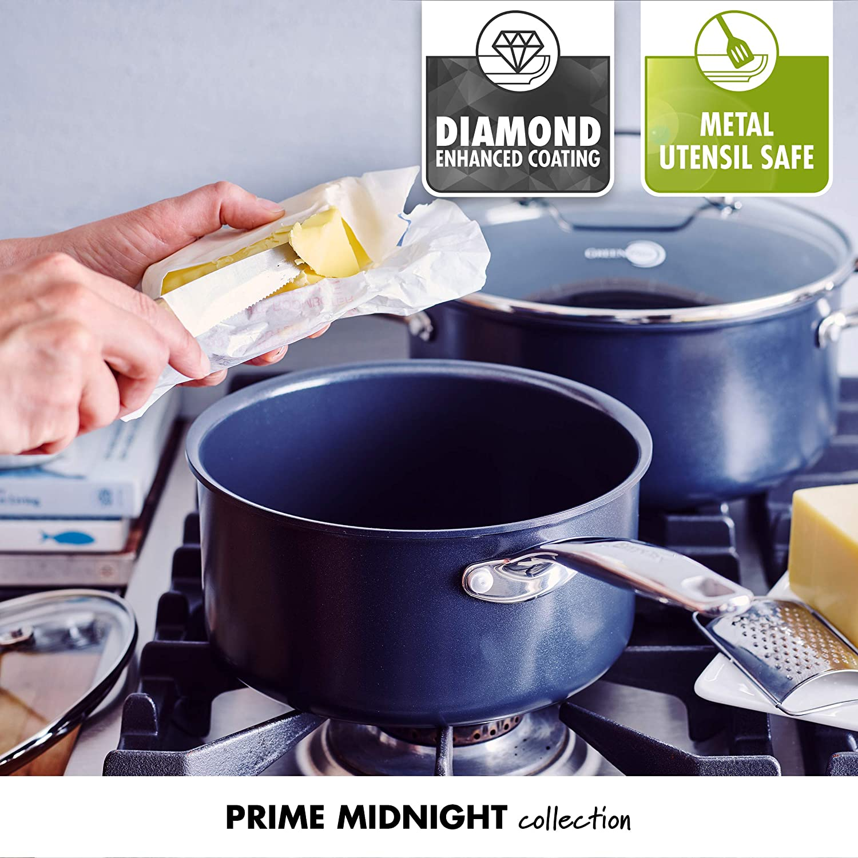 Black 11pc GreenPan CC002676 Prime Midnight Ceramic Nonstick 11-Piece Set
