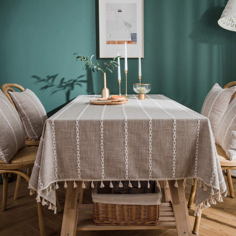 140cmx180cm Fang-Coffee Homcomodar Mantel Lavable de algod/ón y Lino para Mesa de Comedor para Interior//Exterior