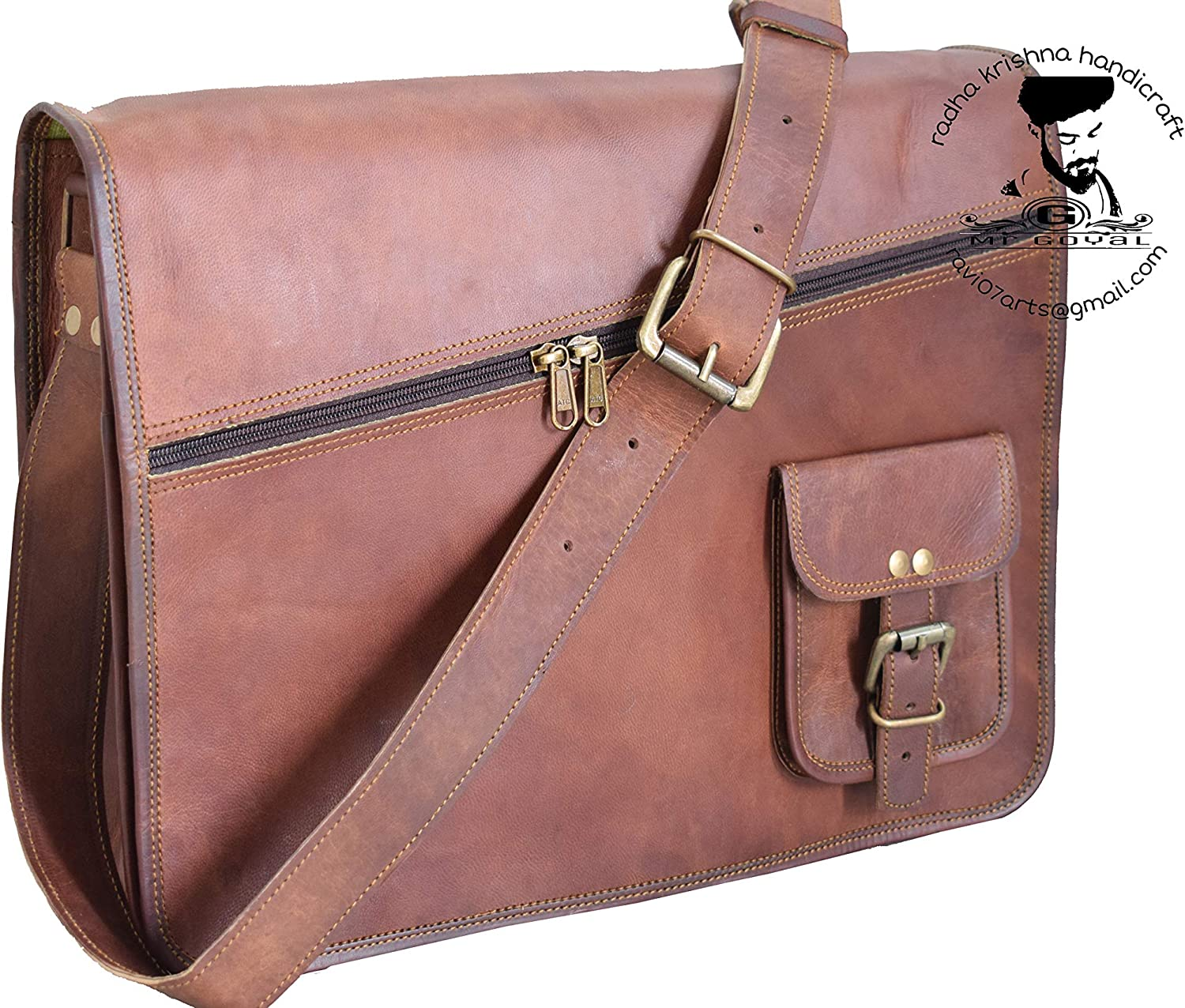 """RKH 15"""" Leather Briefcase for Men and Women 15 inch Handmade Leather Messenger Bag"""