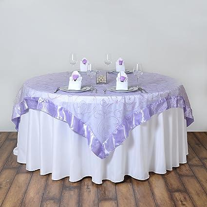 Amazon Balsacircle 60x60 Inch Lavender Organza Table Overlays