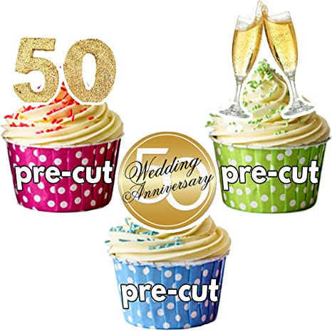 Pre Cut Golden 50th Wedding Anniversary Celebration Mix Edible Cup Cake Toppers Decorations Pack Of 12 Amazon Co Uk Kitchen Home