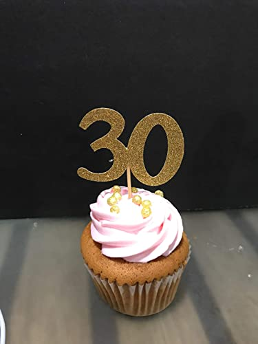 30th Birthday Cupcake Toppers 12 Ct Glitter Decoration Table Decorations