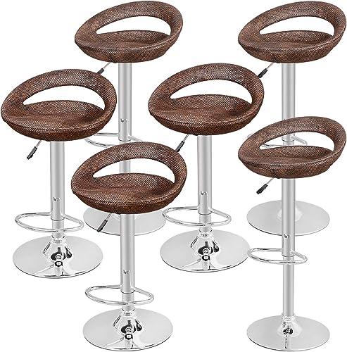 ZENY Set of 6 Adjustable Bar Stool