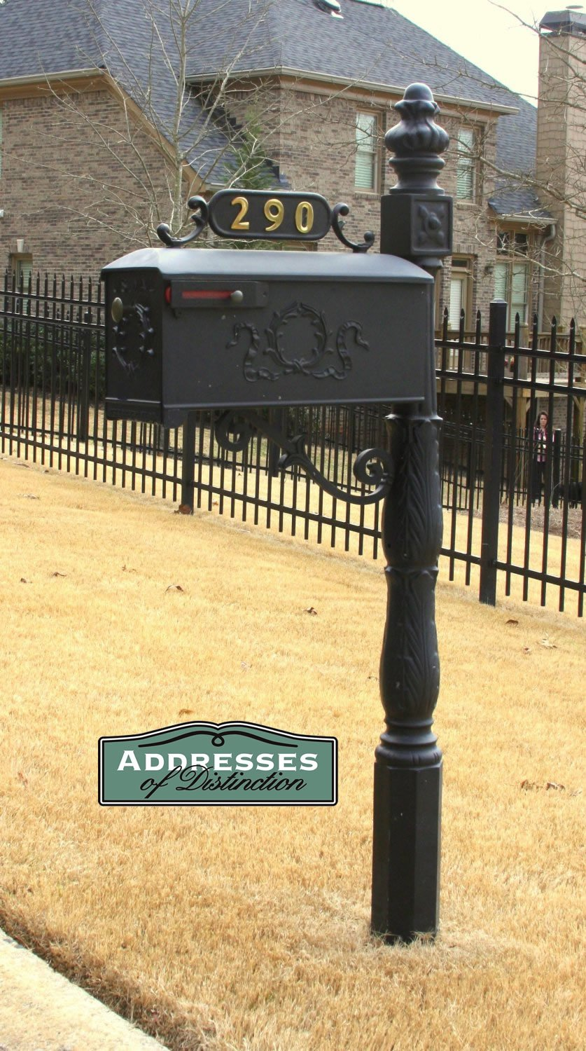 Addresses of Distinction Williamsburg Mailbox & Post System Style 119 – Black Rust Resistant Mailbox – Includes Address Plate, Numbers, Decorative Scroll & Mounting Hardware - Powder Coated Aluminum