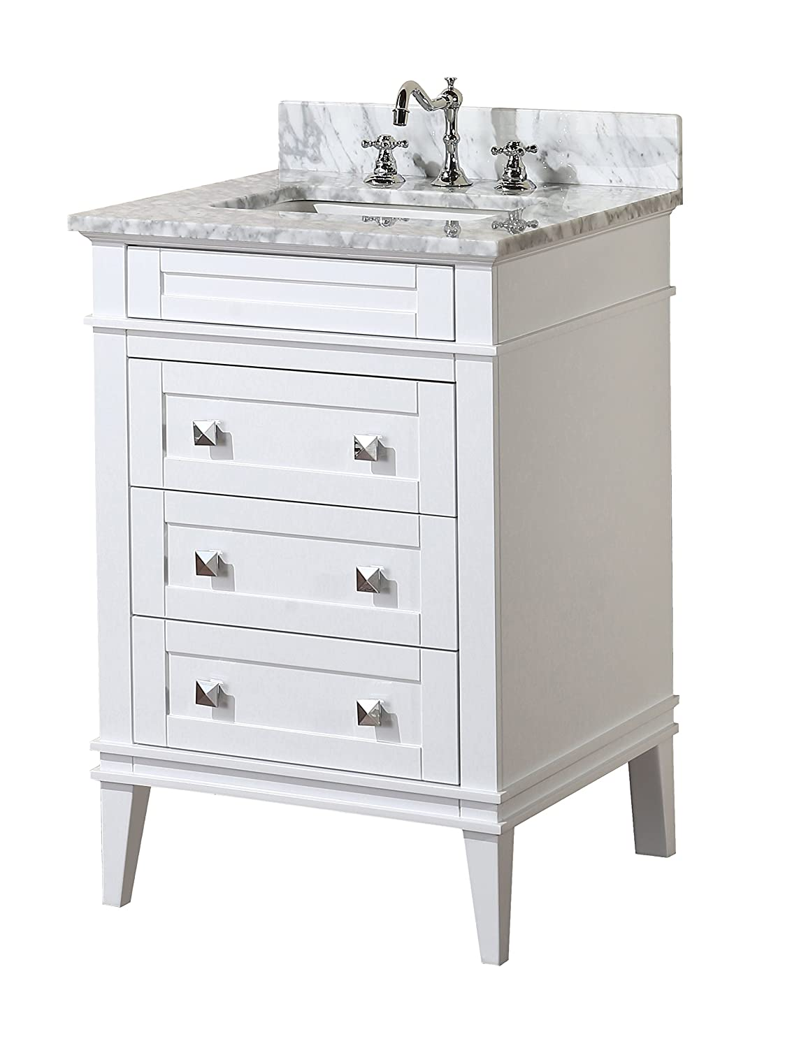 Kitchen Bath Collection KBC L24WTCARR Eleanor Bathroom Vanity With Marble  Countertop, Cabinet With Soft Close Function U0026 Undermount Ceramic Sink,  24