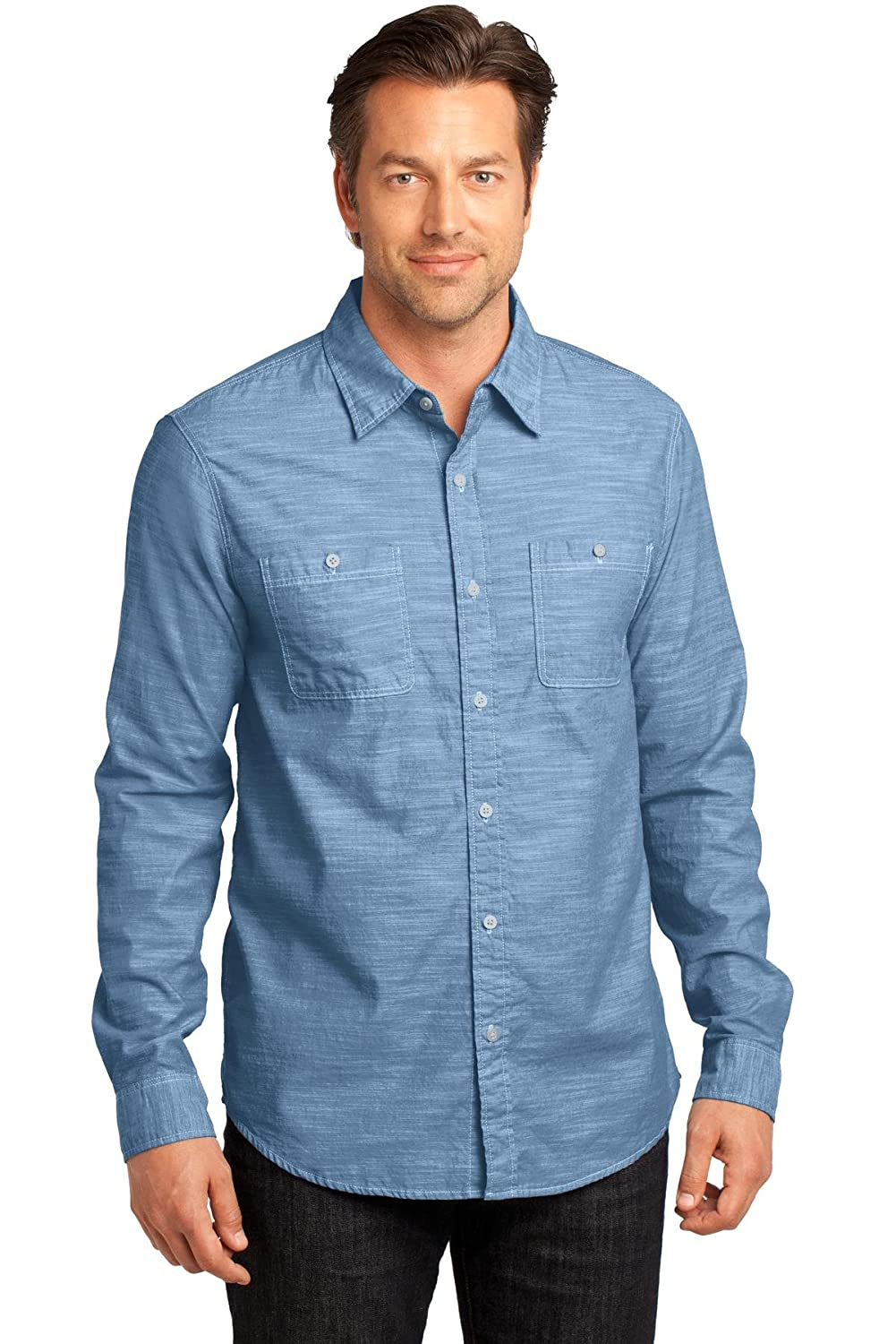 DM3800 Mens Long Sleeve Washed Woven Shirt District Made