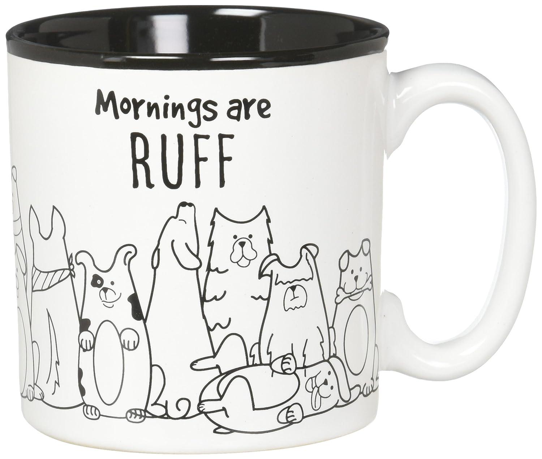 BnB Hund Liebhaber Kaffee-Haferl morgens sind Ruff lustige Nachricht Neuheit Keramik Tasse mit Hunde Cartoon Bilder 4