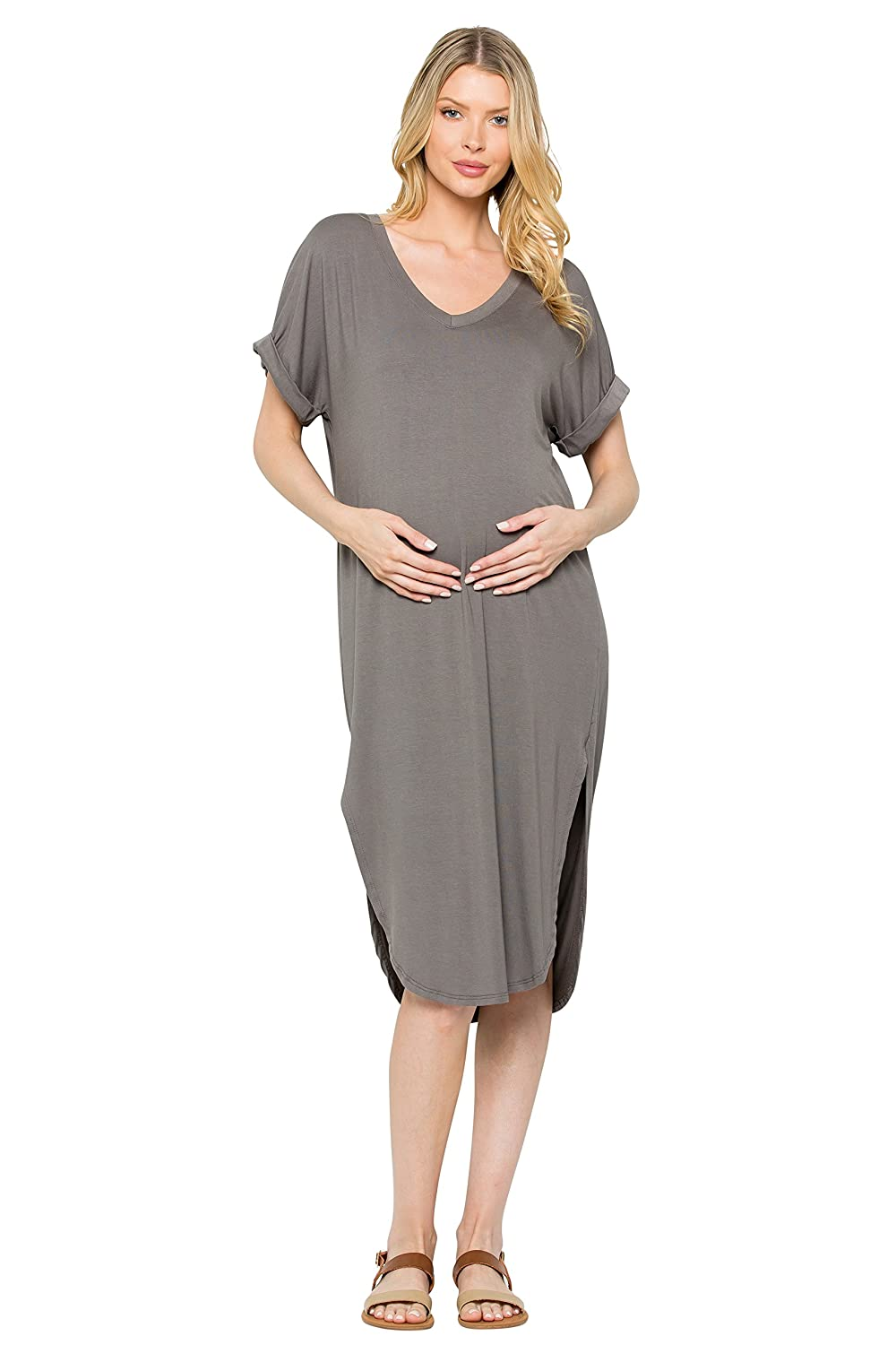 My Bump DRESS レディース B07DBGFHD5 Large|D.grey Sd D.grey Sd Large