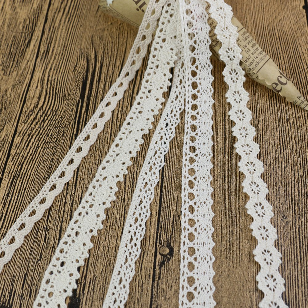 Cotton Fabric Lace Trim Ribbon Ivory 10 Yards 20mm Wide for DIY Sewing Craft Log-Cabin