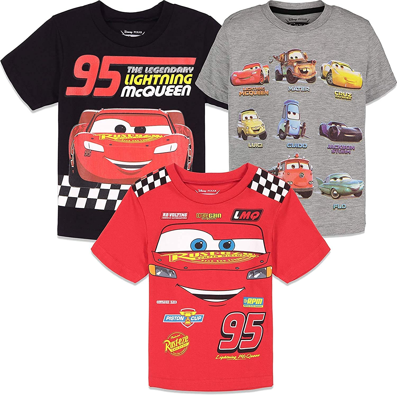 Disney Cars Lightning McQueen 3 Pack Short Sleeve Graphic T-Shirts