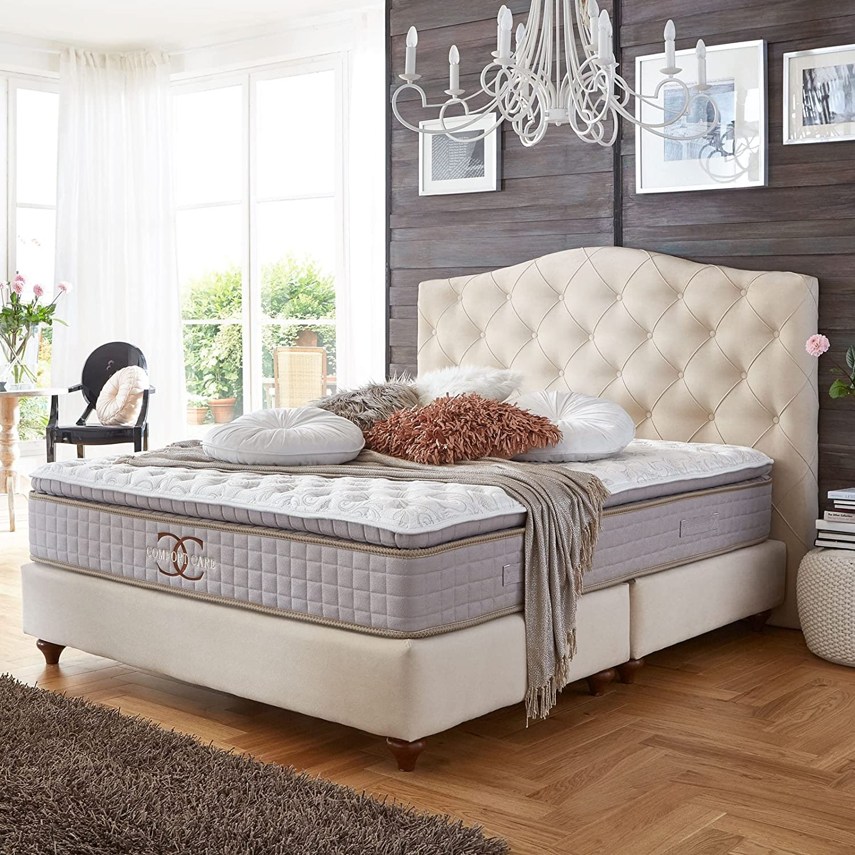 Cama con somier Jersey Blanco Antiguo Velour Hotel cama doble Cama de Colchón de muelles ensacados Comfort Care Topper Modern cama de lujo, beige, 180 ...