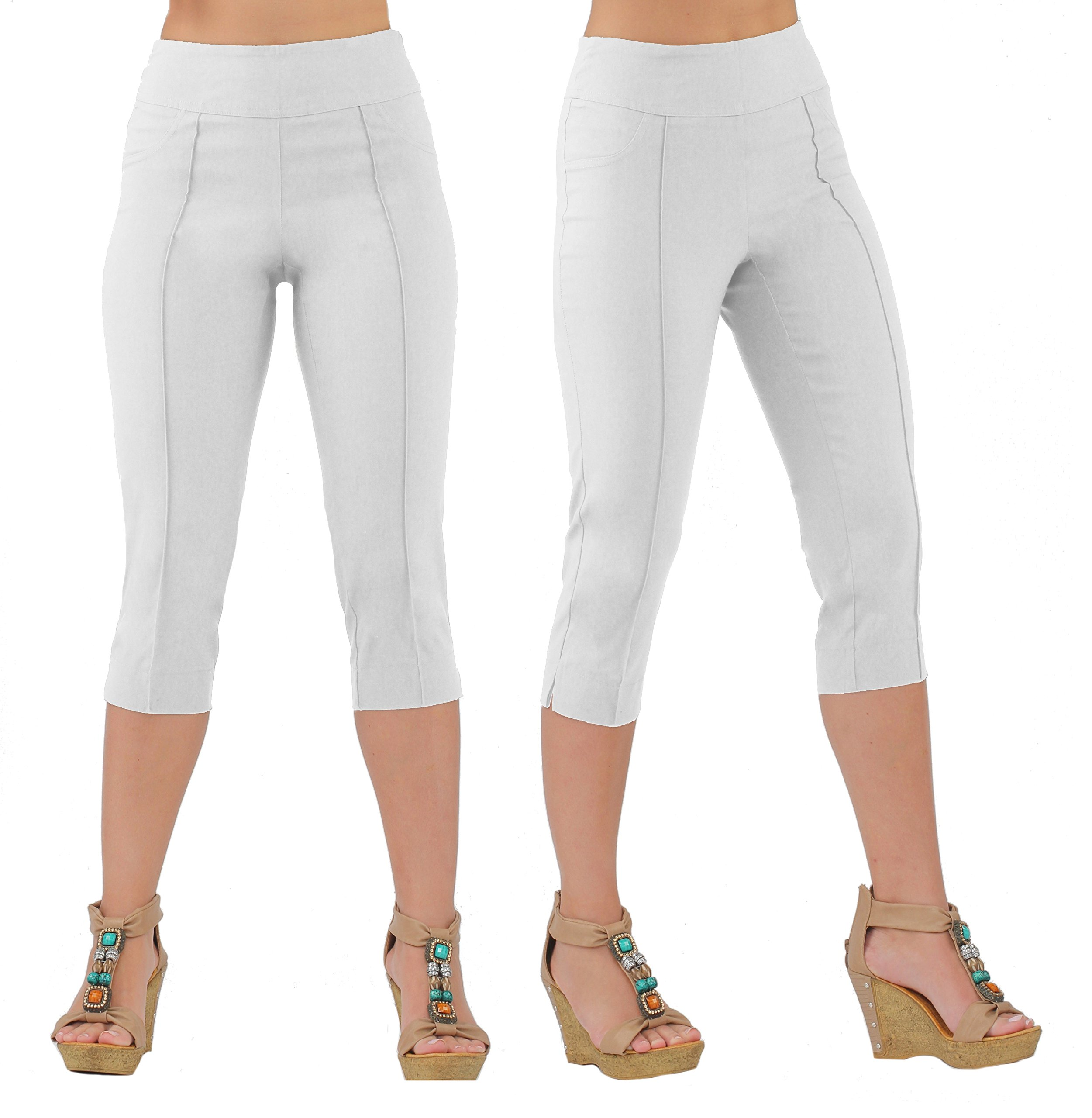 Lior Paris Women's LUNA Tapered Leg Pull on Capri with Top Stitching Details (3,White)