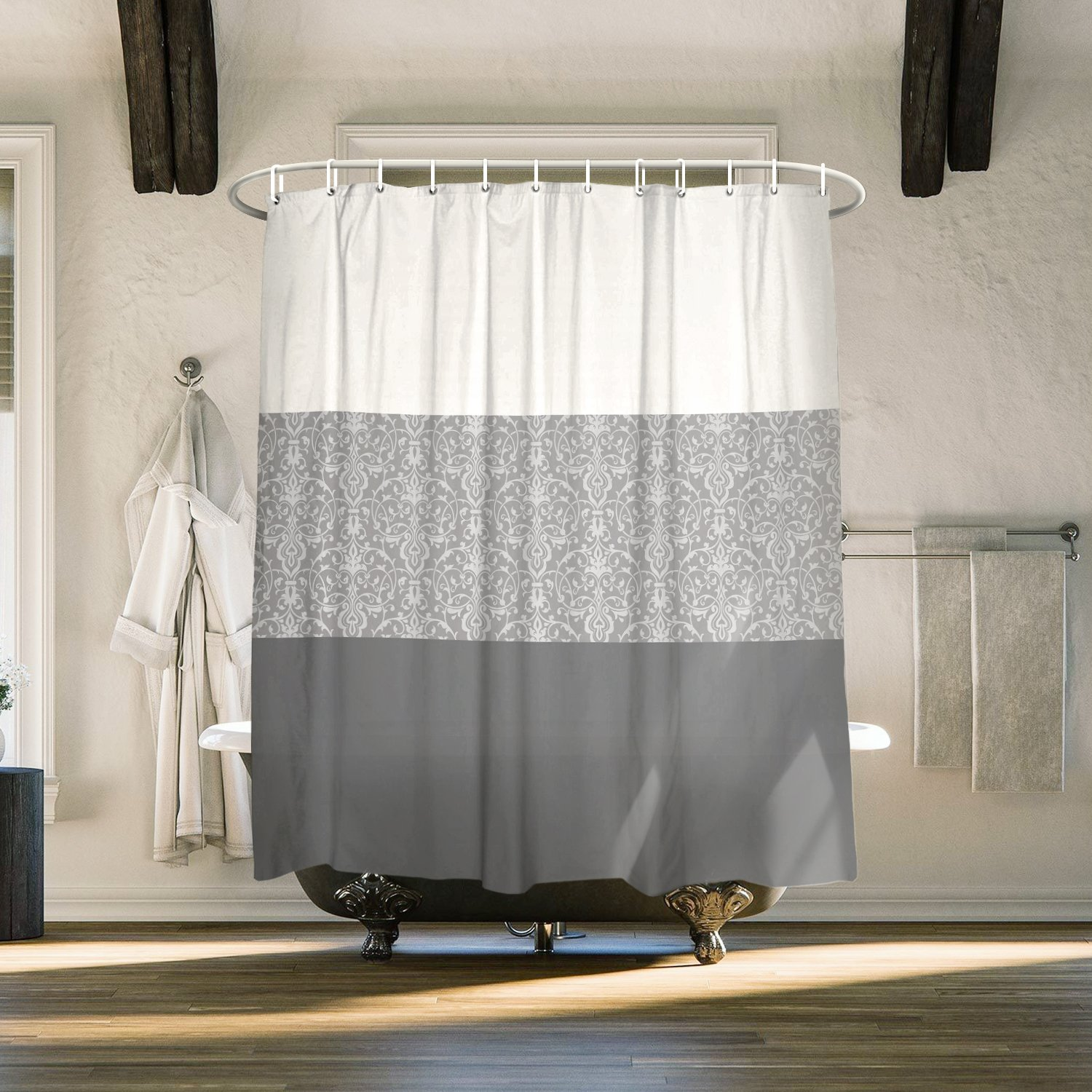 Cloud Dream Home Chateau Striped Fabric Shower Curtain for Bathroom Set with 12 Hooks, 84 inches Extra Long,Gray TK-CRY-1342