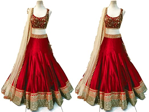 31b7be0997 Amazon.com: Lehenga Choli Designer Indian Ghaghra Dress Bollywood Replica  Ethnic Party (Unstitched, Red): Clothing