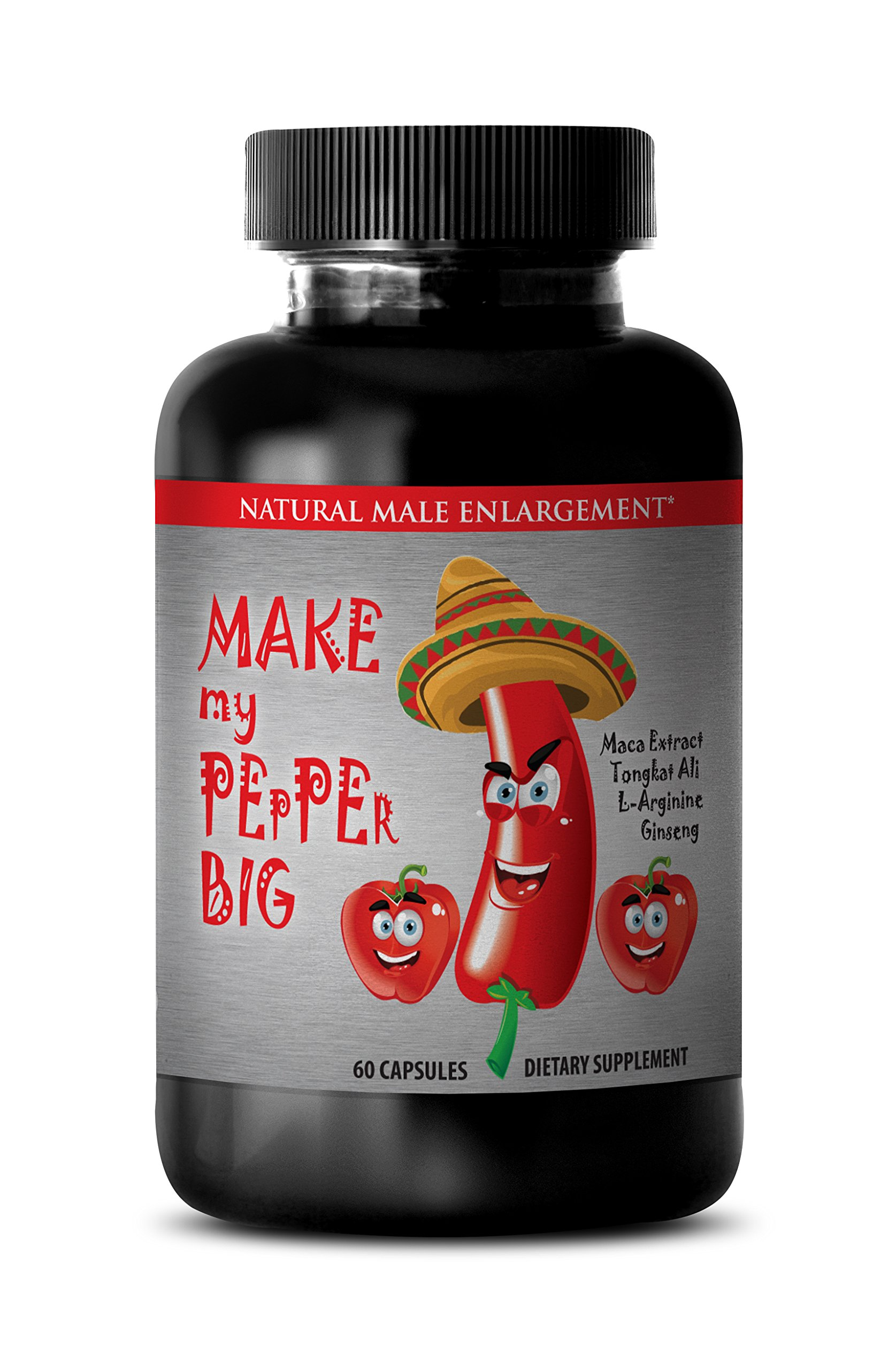 Tongkat Ali Male Enhancement Formula - ''Make My PEpPEr Big'' with Maca Root, L-Arginine, Ginseng (1 Bottle 60 Capsules)