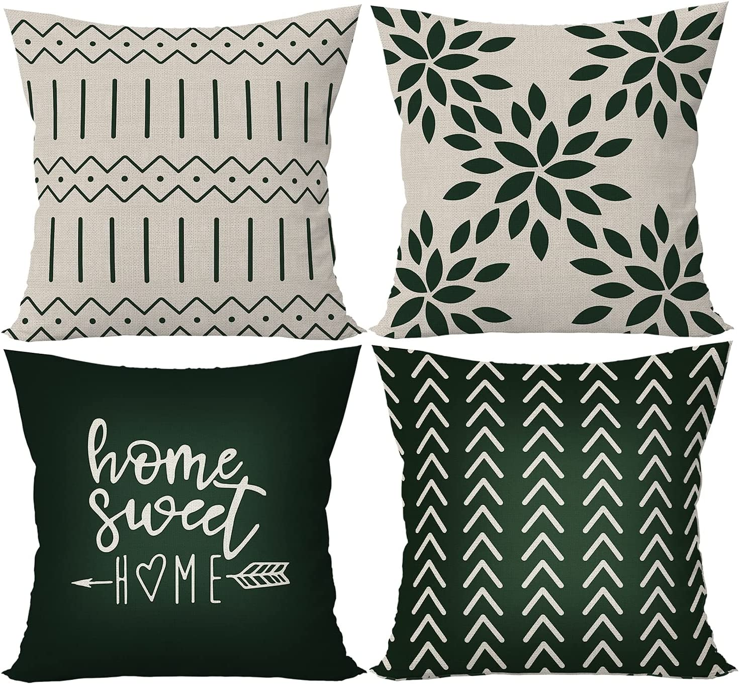 ÖSSZEFUT Pillow Covers 18×18 Inch Set of 4 Pillow Case Festival Wedding Anniversary Cushion Pillow Case for Home Couch Sofa Decorations (4.Modern Geometric Striped Black)