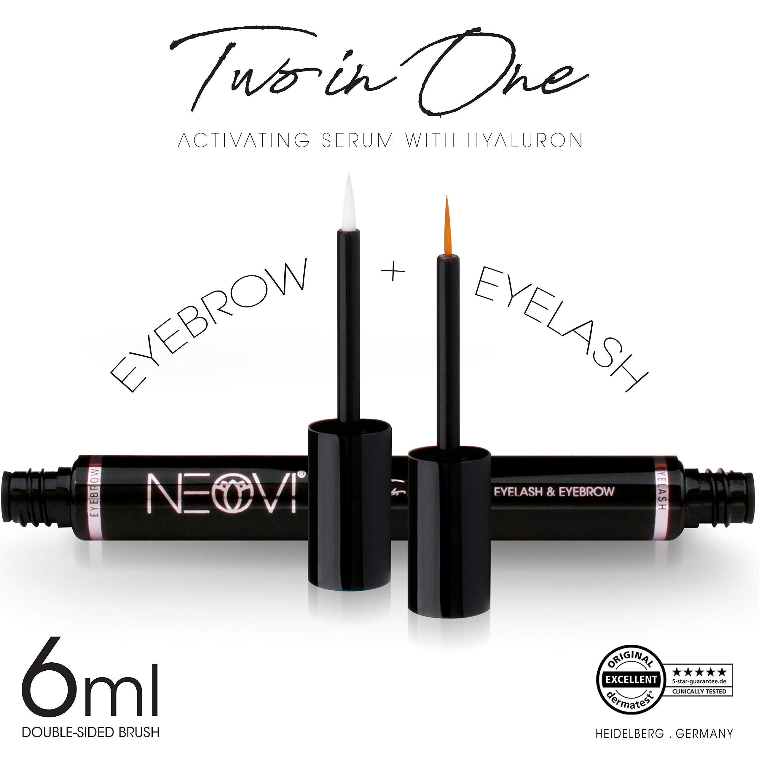 Eyelash and Eyebrow Growth Serum, Two in One 2 in 1 Growth Serum, Eyelash and Eyebrow Activating Enhancing Serum, 6 ml, 0.1 Fl Oz, Made in Germany.