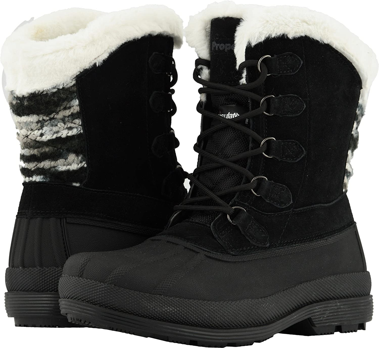 Propet Women's Lumi Tall Lace Snow Boot B078YP8LWY 6H MEDIUM Medium US Black/White