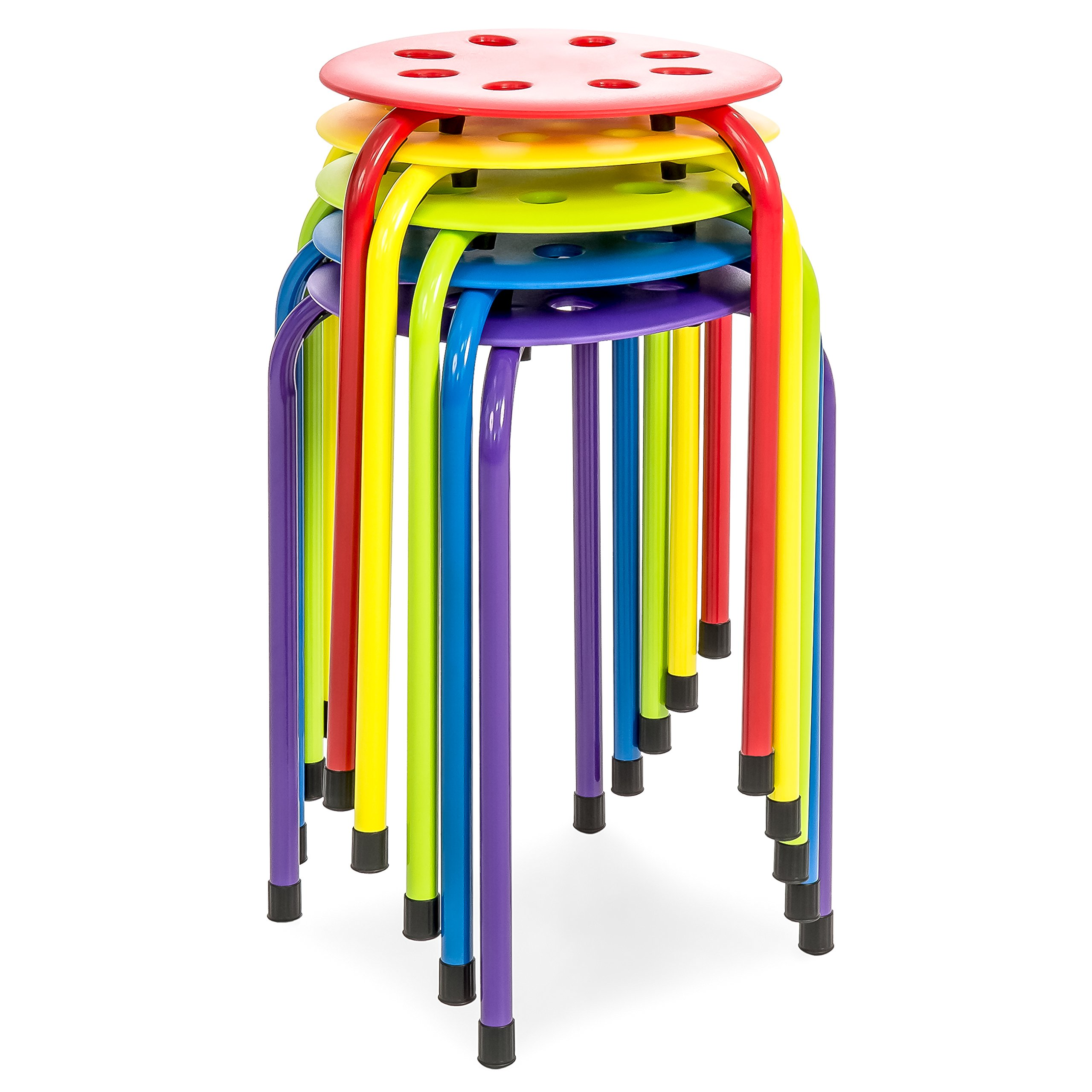 Best Choice Products Set of 5 Backless Steel Stackable Stools (Multicolor) by Best Choice Products