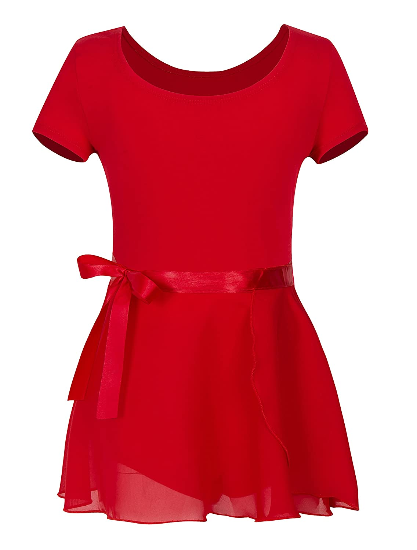YEEIC Girls' Short Sleeve Wrap-Round Skirt Leotard Dress