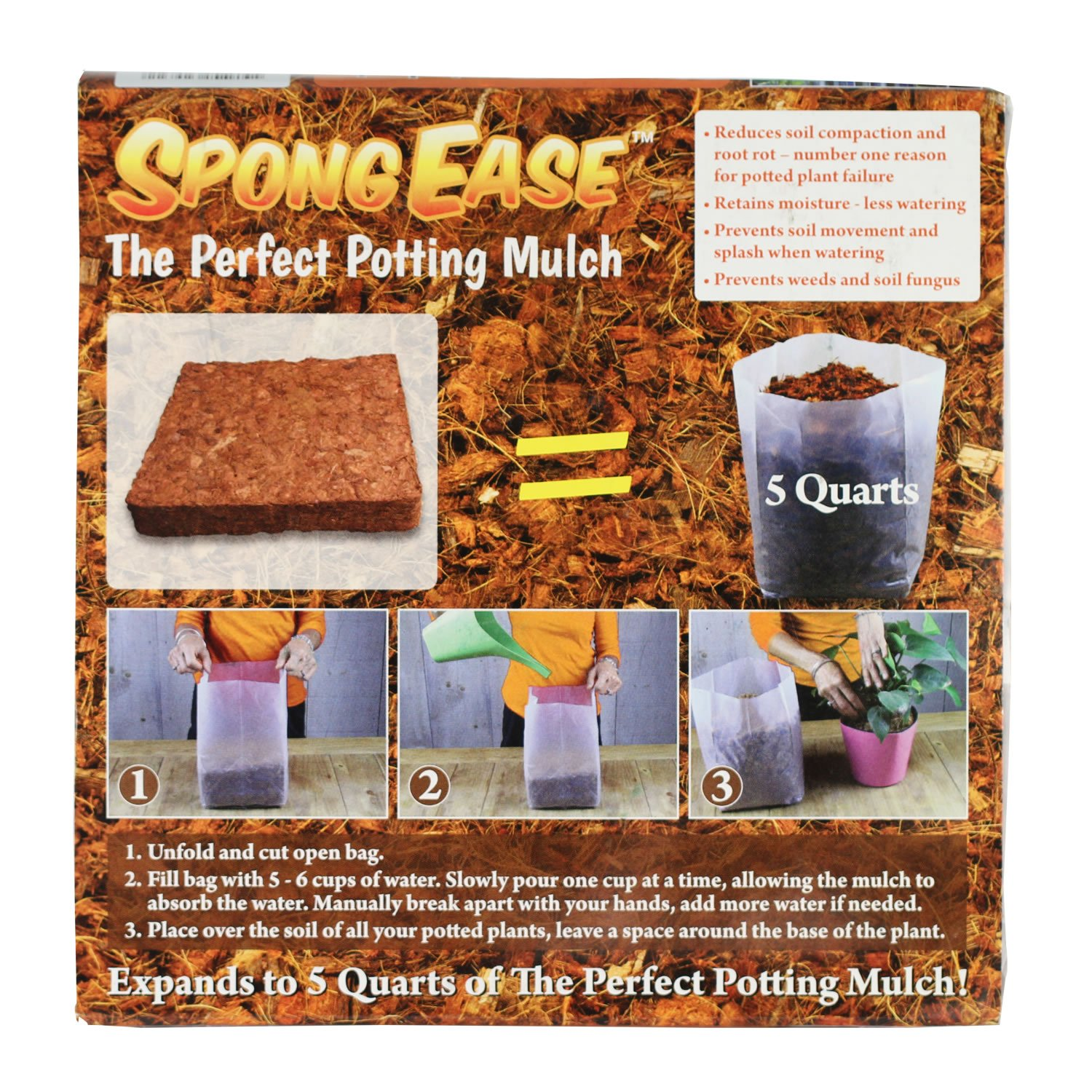 SpongEase Coco Fiber MULCH - 5 Quart for Container Plants - Coco Fiber - Retains Water, Restricts Weed Growth SEM5QT