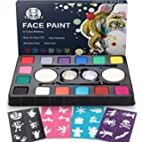 DOOKEY Face Paint Kit for Kids,Professional Non-tocix Face Paint 14 Colors Kit with 2 Brushes, 2 Sponges, 2 Glitter 24 Stencils Body Makeup Paint Hypoallergenic Water Based Paints for Party Cosplay