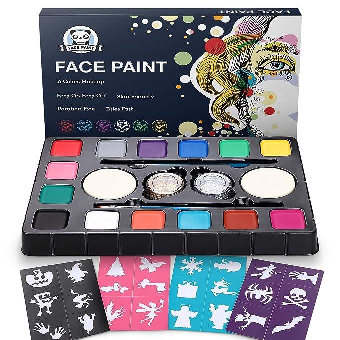 Pinturas de cara para Niños, Kit completo con 14 colores.