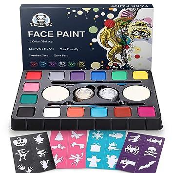 Dookey Kinderschminke Set , Hochwertiges 14 Schminkfarben Face Paint mit 24 Malerschablonen,Wasserbasiert und Ungiftig, Ideal
