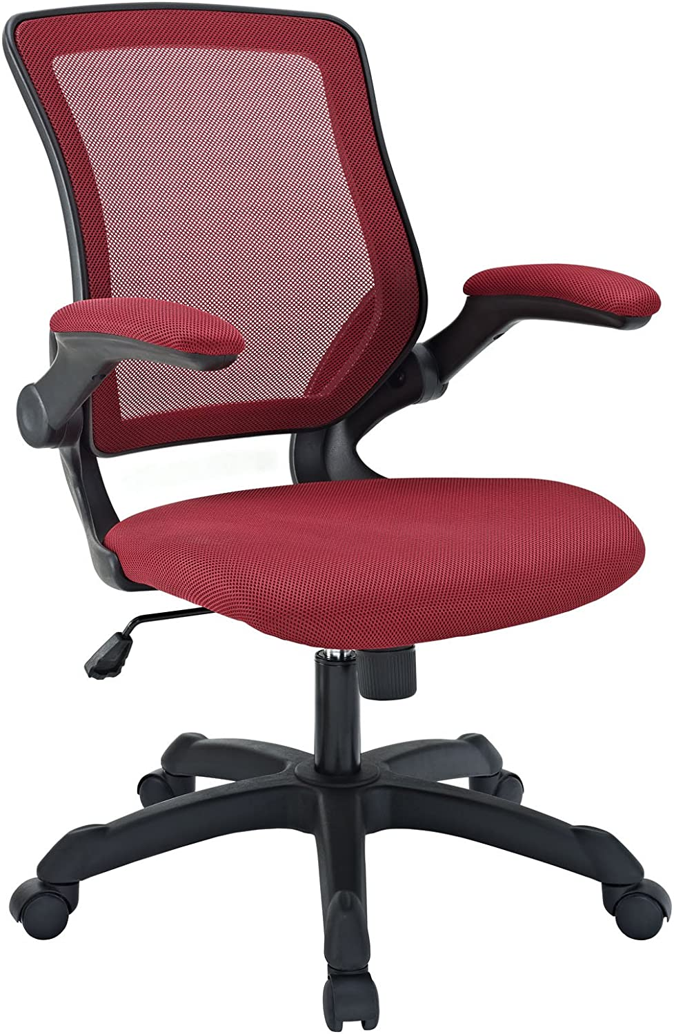 Modway Veer Office Chair with Mesh Back and Vinyl Seat With Flip-Up Arms in Red