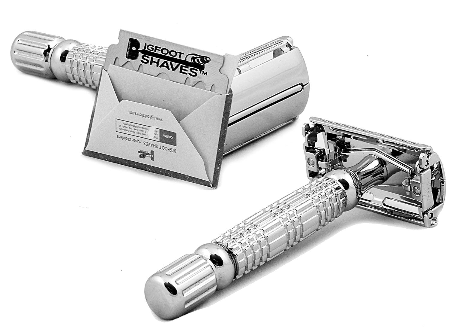 Bigfoot Shaves Butterfly Double Edge À✠DE- One Blade Safety Razor for Men + Blades + Carry Case - Prevents Razor Burn Nicks Cuts. Get a Smooth Shave Like Baby's Bottom. Look Sharp Feel Confident Conquer the Day