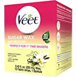VEET Sugar Wax Hair Remover - Perfect for First Time Waxers - Contains 12 Fabric Strips & 1 Spatula with a Temperature…