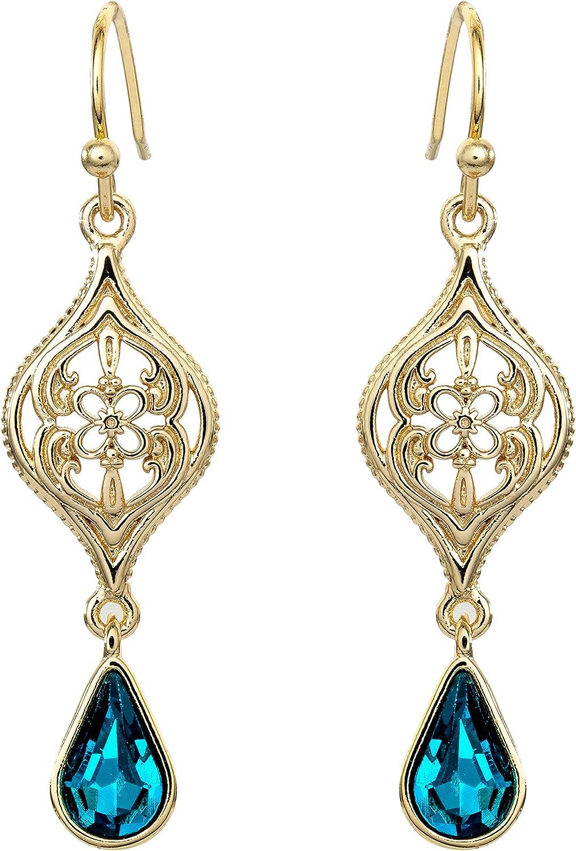 Disney Aladdin Princess Jasmine Yellow Gold Plated Crystal Dangle Earrings