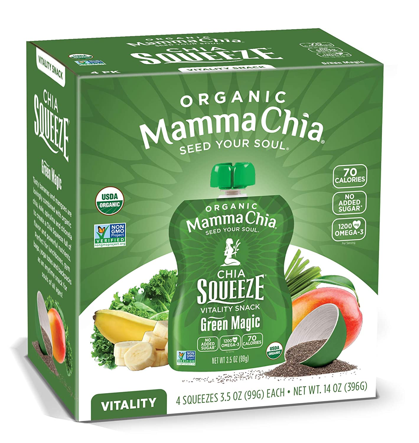 Mamma Chia Organic Vitality Squeeze Snack, Green Magic, 4 Count (Pack of 6)