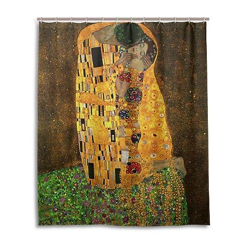 jstel decor vorhang fr die dusche gustav klimt der kuss malerei muster print 100 polyester - Stoff Vorhang Dusche