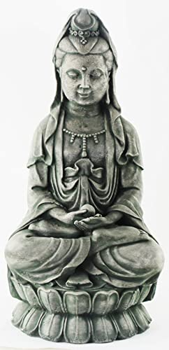 Kuan Yin Sitting Home and Garden Statues Concrete Asian Statuary Chinese Sculpture Japanese Outdoor Statuary