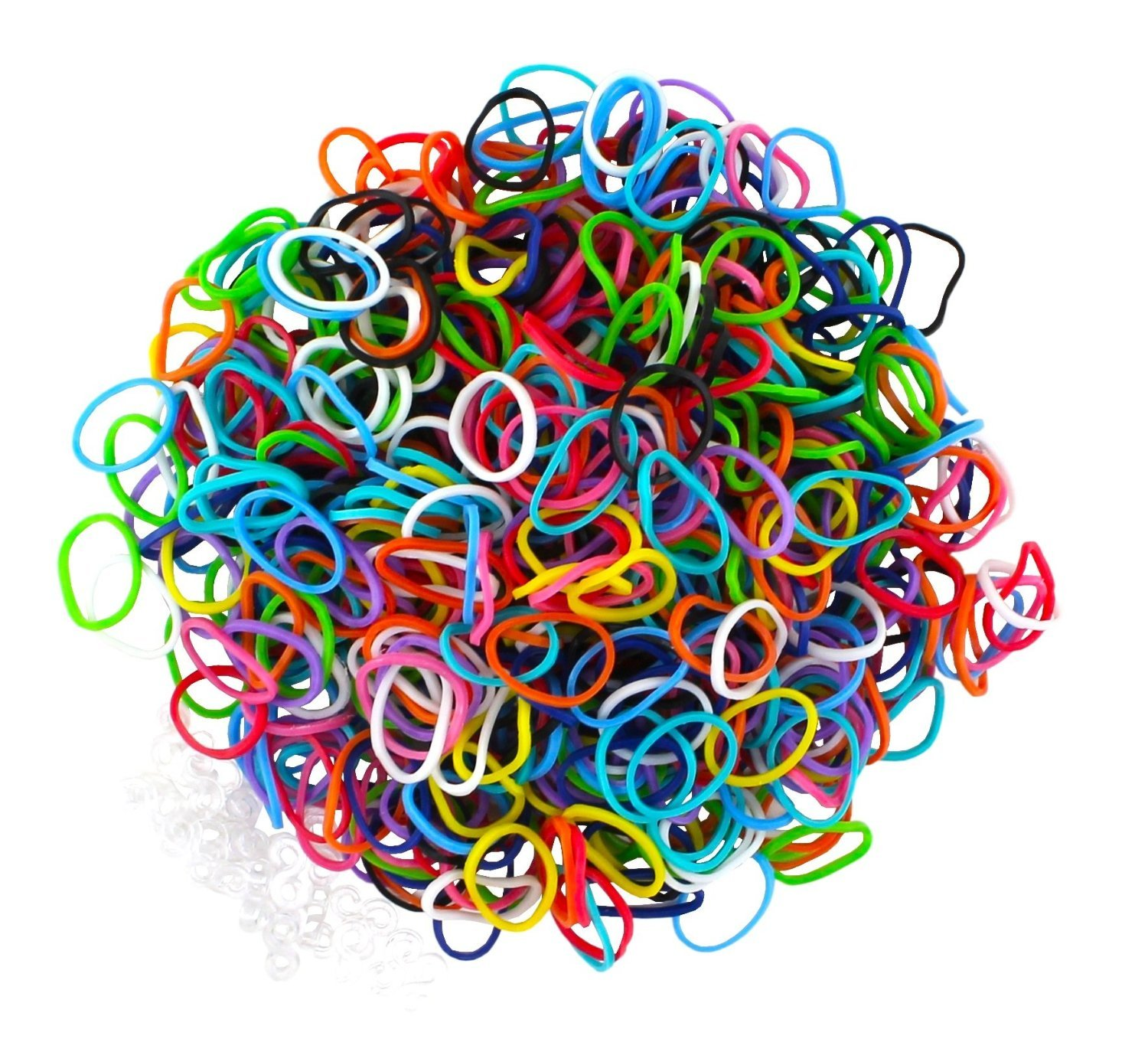SODIAL(R) Colorful Silicone LOOM BANDS - 600 Bands & 25 S Clips!