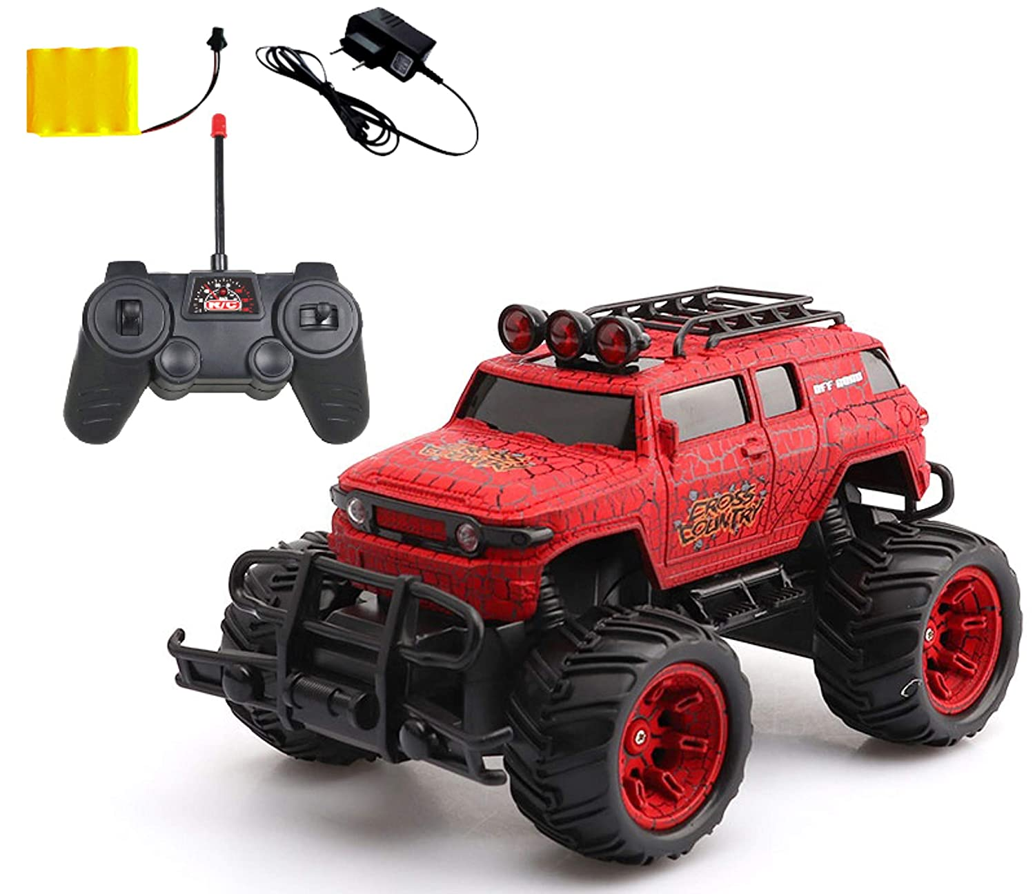Popsugar 1:20 Off Roader Monster Truck with Remote Control Rechargeable Toy for Kids