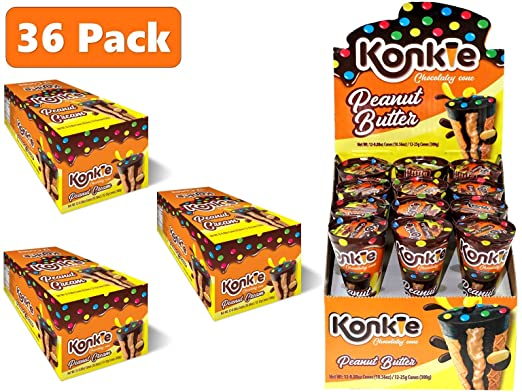 Wafer Snow Cone KONKIE (Pack of 36 Units) of Chocolate Peanut Butter Ice Cream Creme Filled Crunchy Waffle Sweet Treats Snack Cookies Sweet Tooth ...