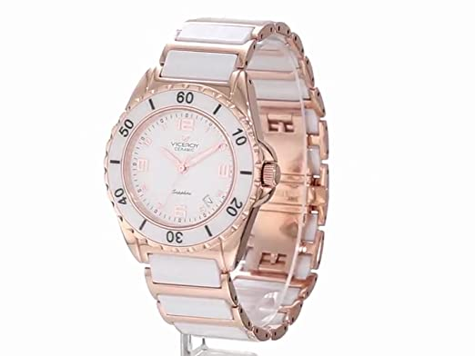 Amazon.com: Viceroy Womens 47548-95 White Ceramic Rose Gold-Tone Date Watch: Watches