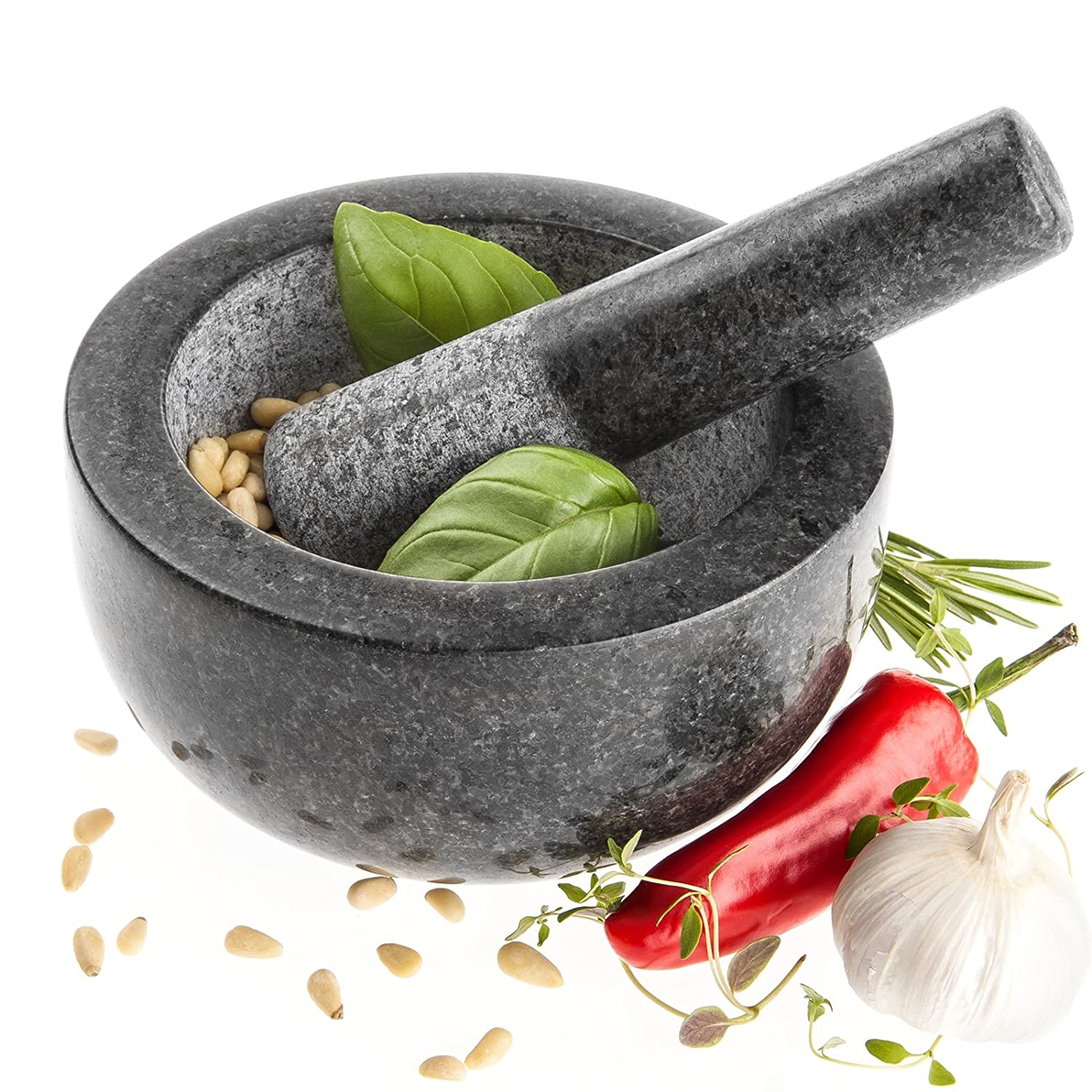 Savisto Premium Solid Granite Pestle and Mortar - Large 15.5cm Diameter SV-KITC-Z001