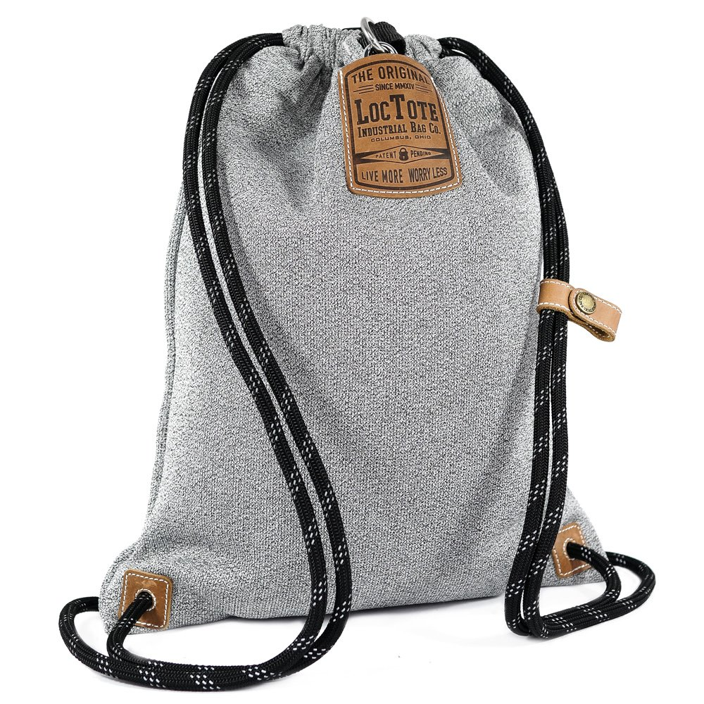 LOCTOTE Flak Sack II - World's Toughest Theft-Resistant Drawstring Backpack | Slash-Proof | Lockable | Portable Safe (Heather Grey) by LOCTOTE