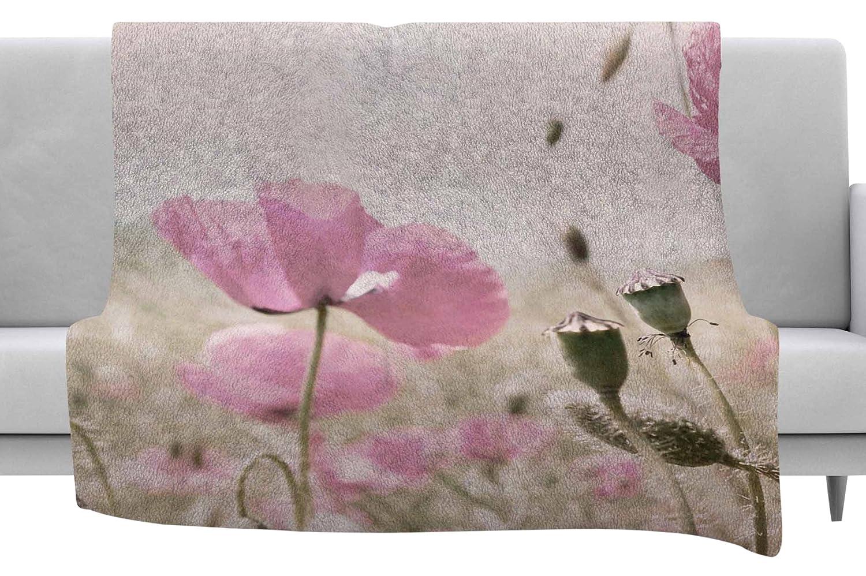 80 by 60 Kess InHouse Iris Lehnhardt Whity Gray Floral Fleece Throw Blanket