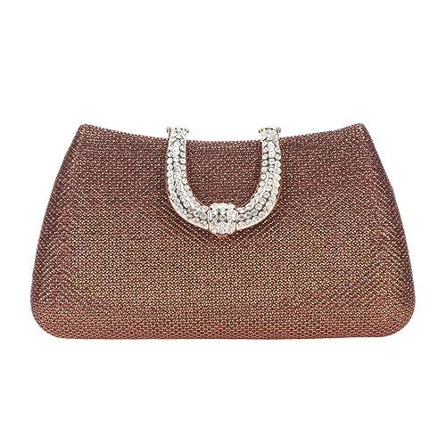 Fawziya Glitter Lnitials Clutch Purses for Women Hard Case Evening Bag -Coffee 3f1eec7ba9c8