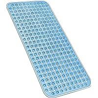 YINENN Bath Tub Shower Mat 35x15.5 Inch Non-Slip and Phthalate Latex Free,Bathtub Mat with Suction Cups,Machine Washable Eco-Friendly XL Size Bathroom Mats (Blue)