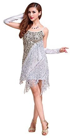 936a8c3f6ada Forgrace Women's 1920S Vintage Flapper Sequin Tassel Cocktail Party Ballroom  Gatsby Dance Dress S Silver