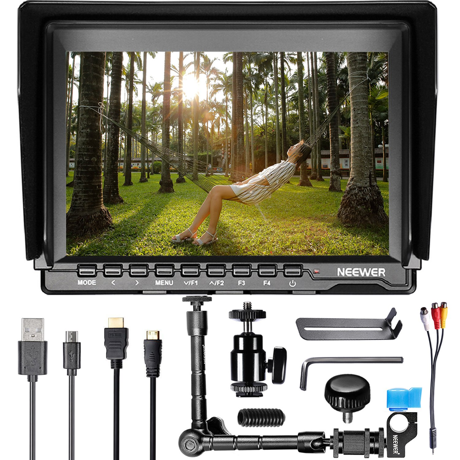Neewer 7 inch NW759 HD Camera Monitor Kit:(1) 1280x800 IPS Screen Camera Field Monitor+(1)11.8 inches Magic Arm+(1)USB Battery Charger+(2)F550 Replacement Battery for Sony Canon Nikon 90088621