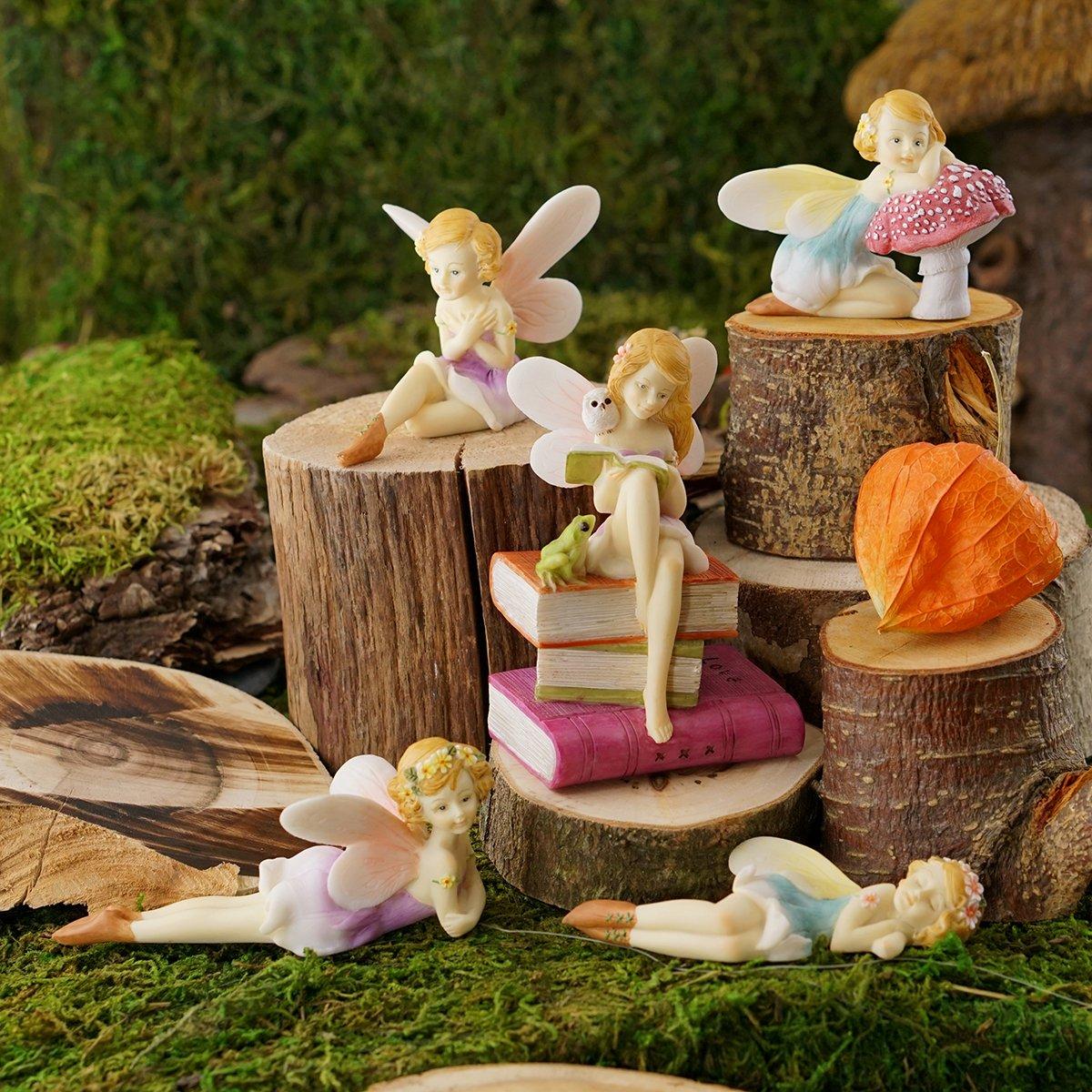 Top Collection Miniature Garden and Terrarium Flower Fairy Resting on Mushroom Figurine