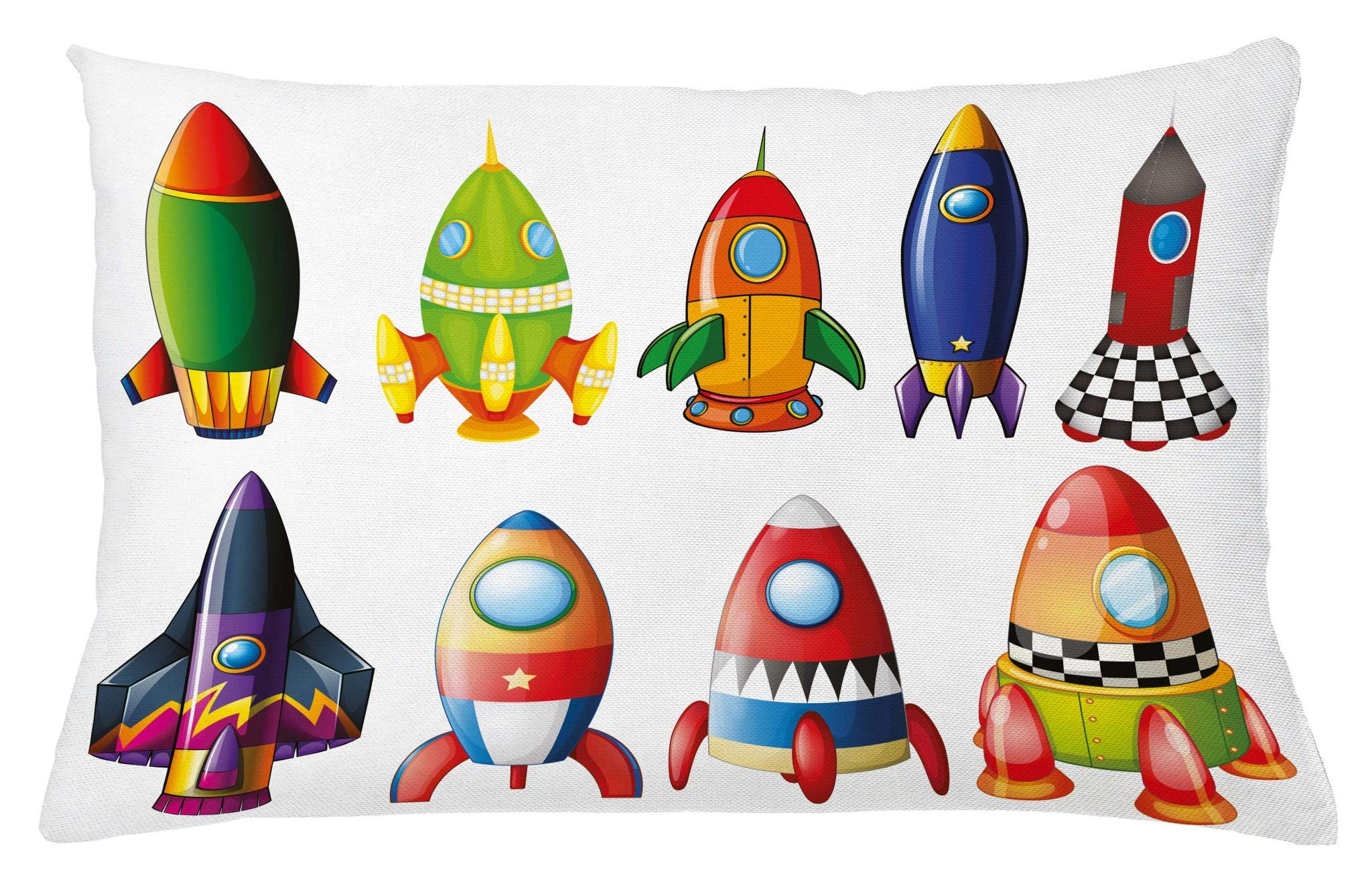 Lunarable Boy's Room Throw Pillow Cushion Cover, Colorful Space Crafts with Variety of Shapes and Sizes Rockets Space Culture, Decorative Accent Pillow Case, 26 W X 16 L Inches, Multicolor